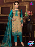 Rakhi 5475 B Grey and Sea Green Printed Glace Cotton Patiala Suit