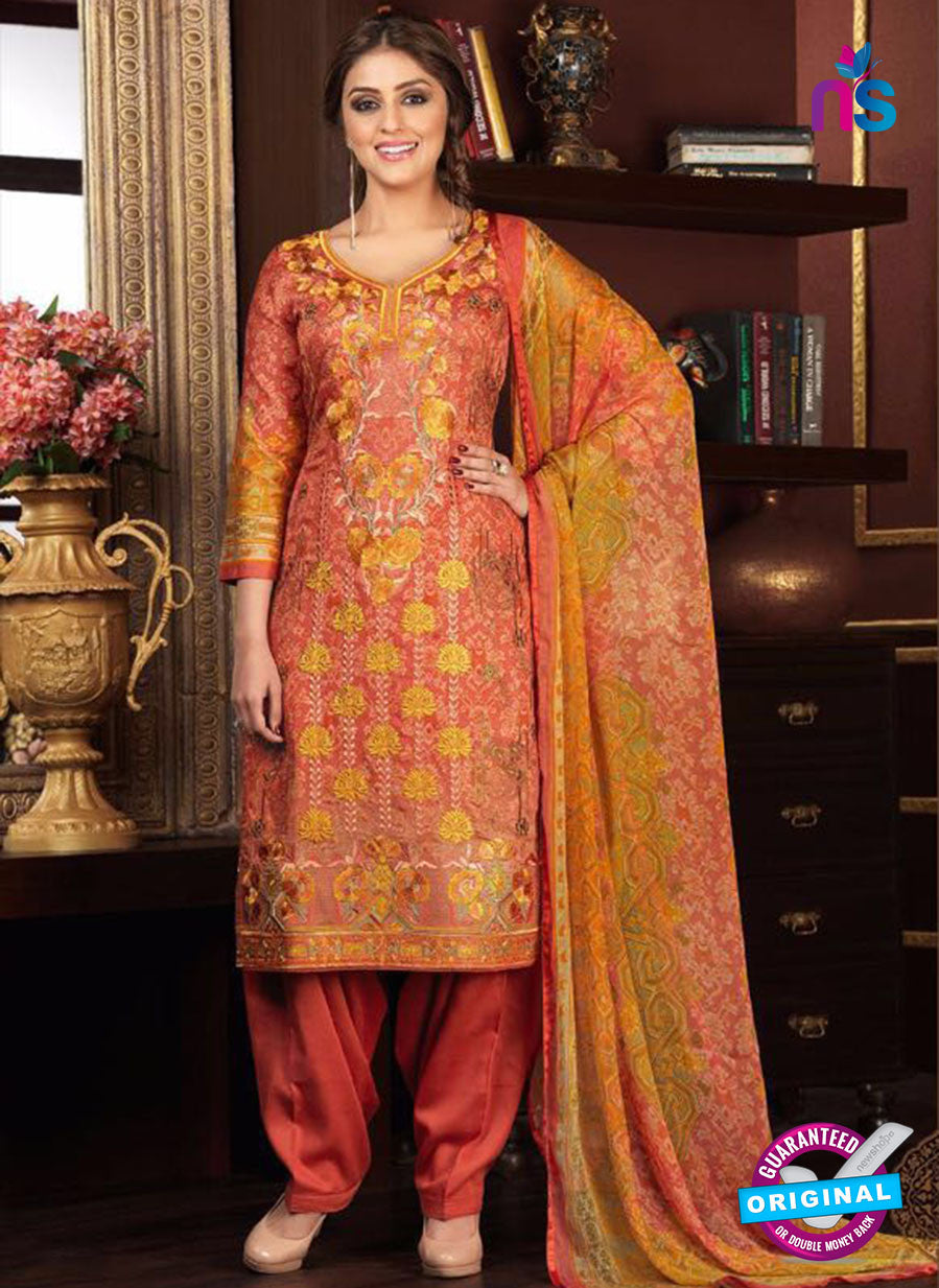 Rakhi 5476 A Orange Printed Glace Cotton Patiala Suit