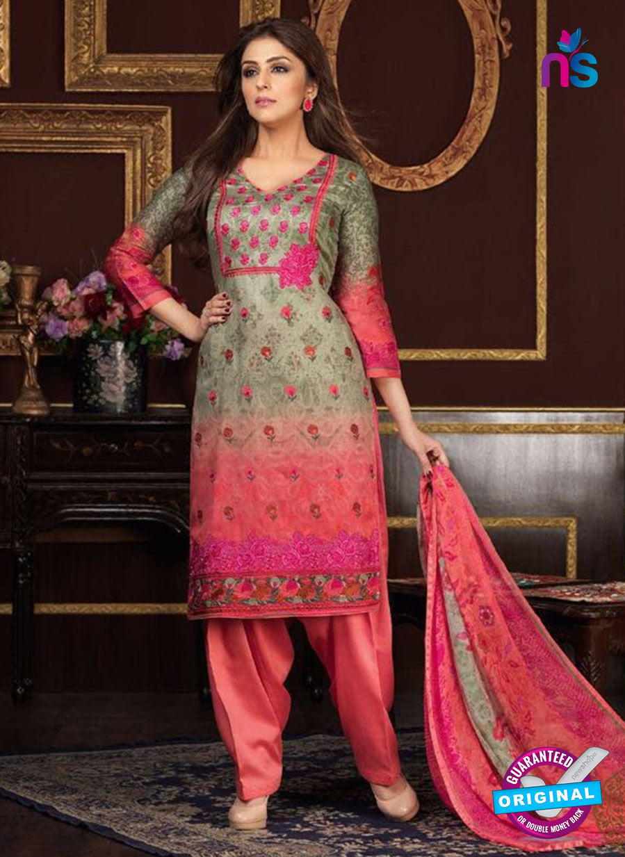 Rakhi 5477 A Grey and Peach Printed Glace Cotton Patiala Suit