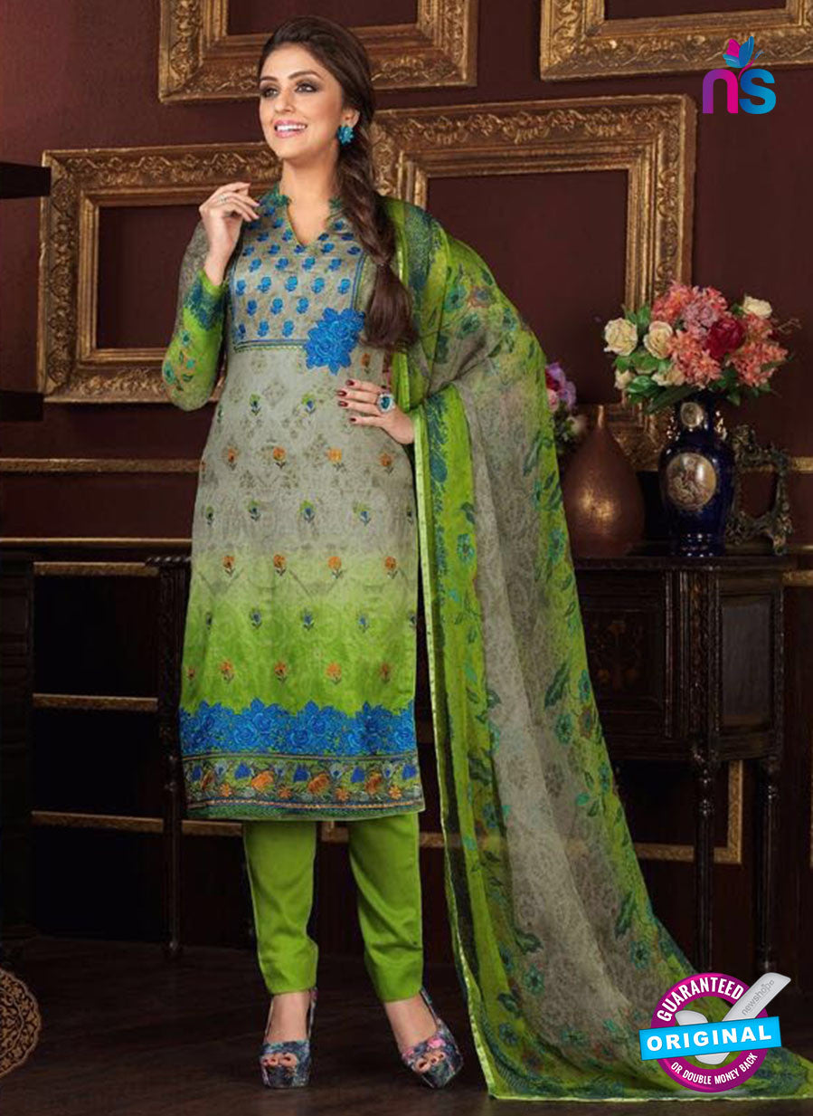 Rakhi 5477 B Grey and Green Printed Glace Cotton Patiala Suit