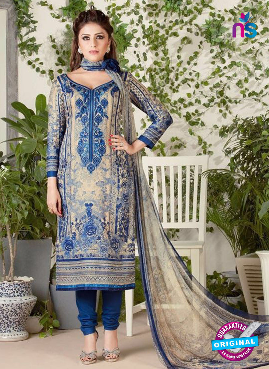 Rakhi 5480 Beige and Blue Glace Cotton Patiala Suit