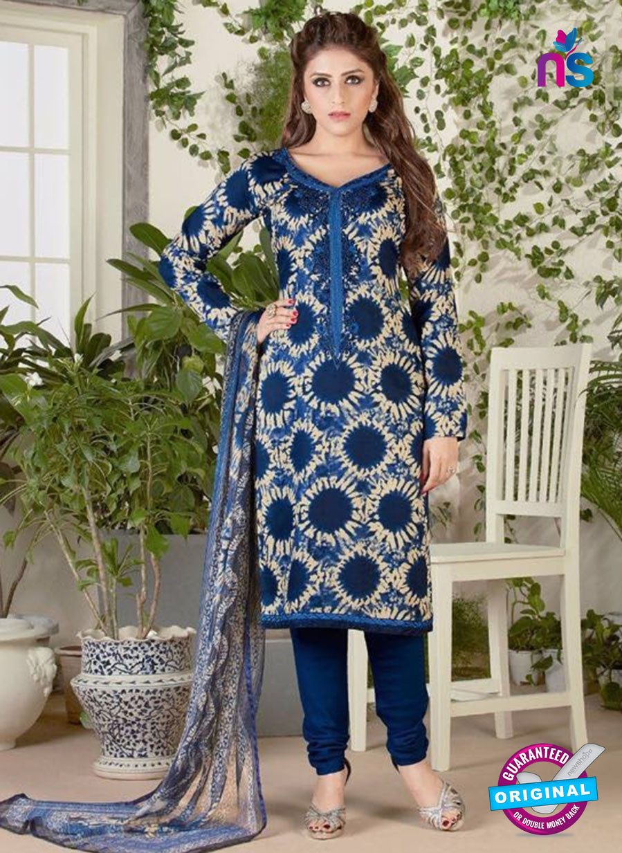 Rakhi 5482 Beige and Blue Glace Cotton Patiala Suit