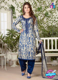Rakhi 5483 Beige and Blue Glace Cotton Patiala Suit