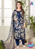Rakhi 5484 Beige and Blue Glace Cotton Patiala Suit
