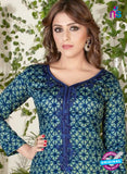Rakhi 5485 Blue Glace Cotton Patiala Suit