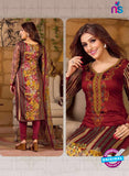 Rakhi 5486 A Maroon Chaam Silk Cotton Patiala Suit
