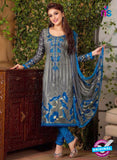 Rakhi 5487 B Grey and Blue Chaam Silk Cotton Patiala Suit