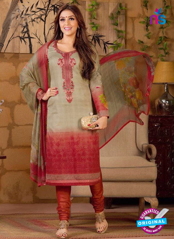 Rakhi 5488 A Beige and Red Chaam Silk Cotton Patiala Suit