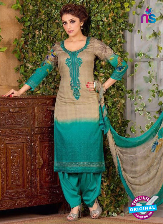 Rakhi 5488 B Beige and Sea Green Chaam Silk Cotton Patiala Suit