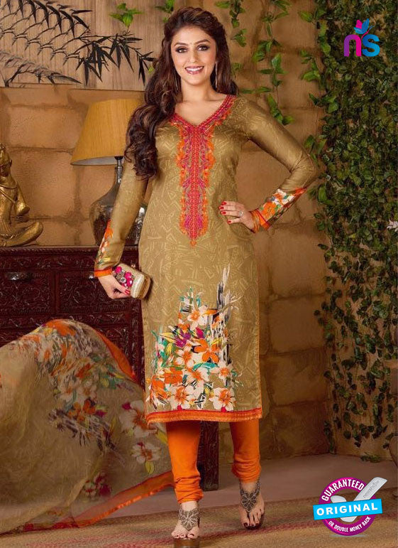 Rakhi 5489 A Brown and Orange Chaam Silk Cotton Patiala Suit