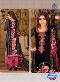 Rakhi 5490 A Black and Pink Chaam Silk Cotton Patiala Suit