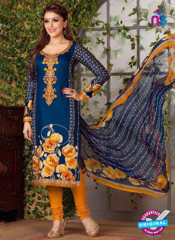 Rakhi 5490 B Blue and Orange Chaam Silk Cotton Patiala Suit