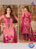 Rakhi 5491 A Pink Chaam Silk Cotton Patiala Suit