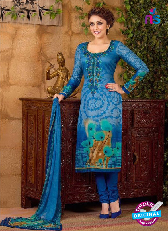 Rakhi 5491 B Sky Blue Chaam Silk Cotton Patiala Suit