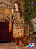 Rakhi 5492 A Beige and Brown Chaam Silk Cotton Patiala Suit