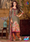 Rakhi 5493 A Beige and Brown Chaam Silk Cotton Patiala Suit
