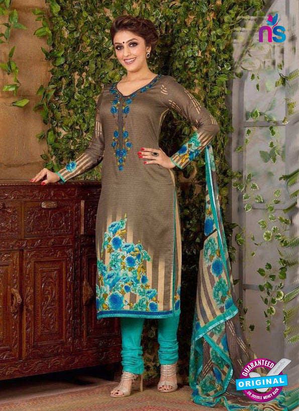 Rakhi 5493 B Beige and Sky Blue Chaam Silk Cotton Patiala Suit