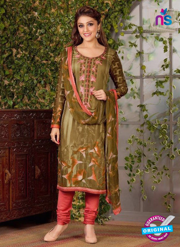 Rakhi 5494 A Mehandi Green Chaam Silk Cotton Patiala Suit