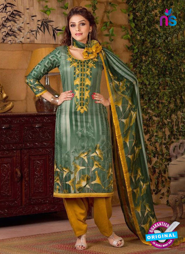 Rakhi 5494 B Green and Yellow Chaam Silk Cotton Patiala Suit