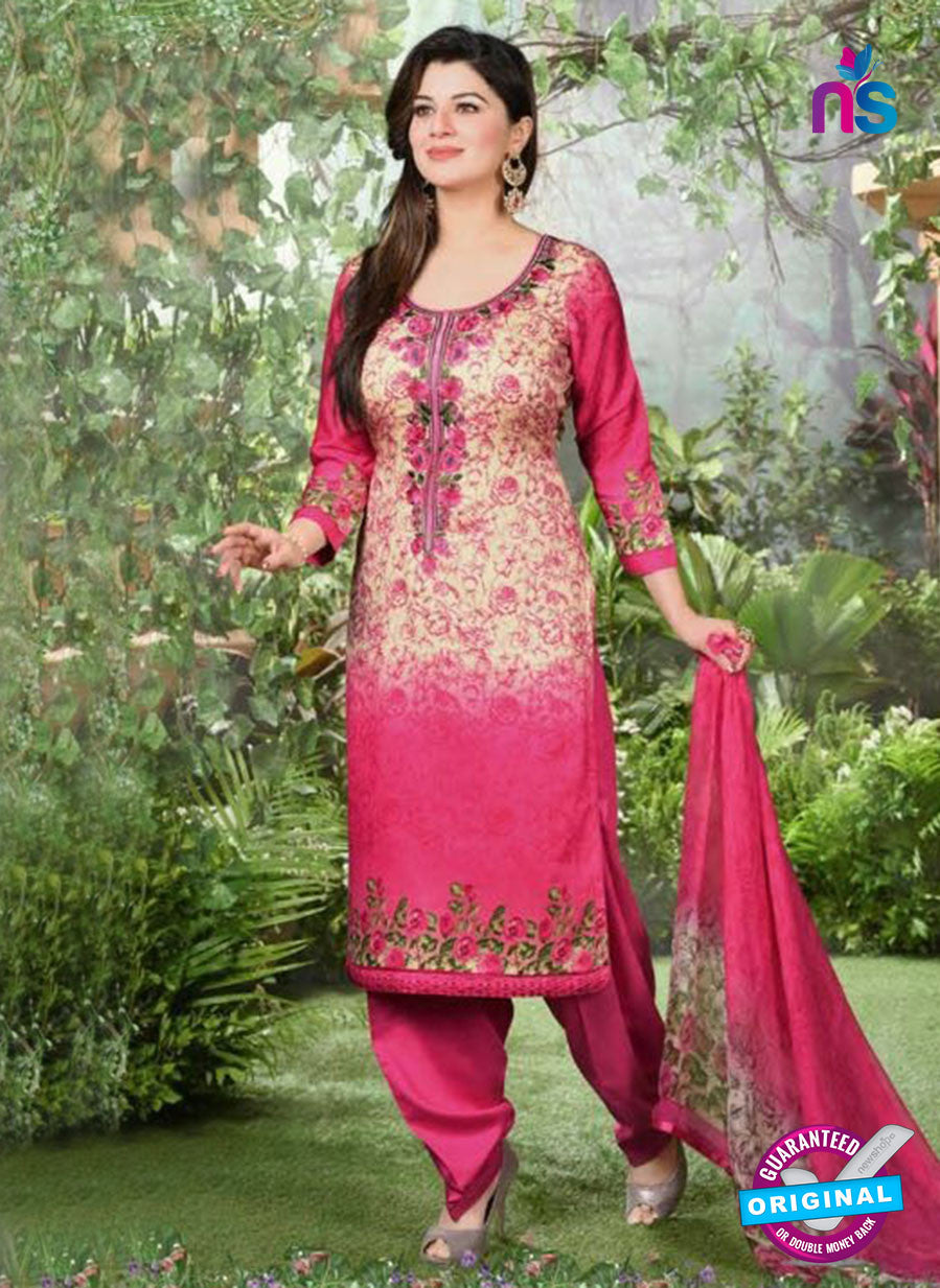 Rakhi 5495 A Beige and Pink Printed Chaam Silk Cotton Patiala Suit