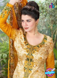 Rakhi 5495 B Beige and Yellow Printed Chaam Silk Cotton Patiala Suit