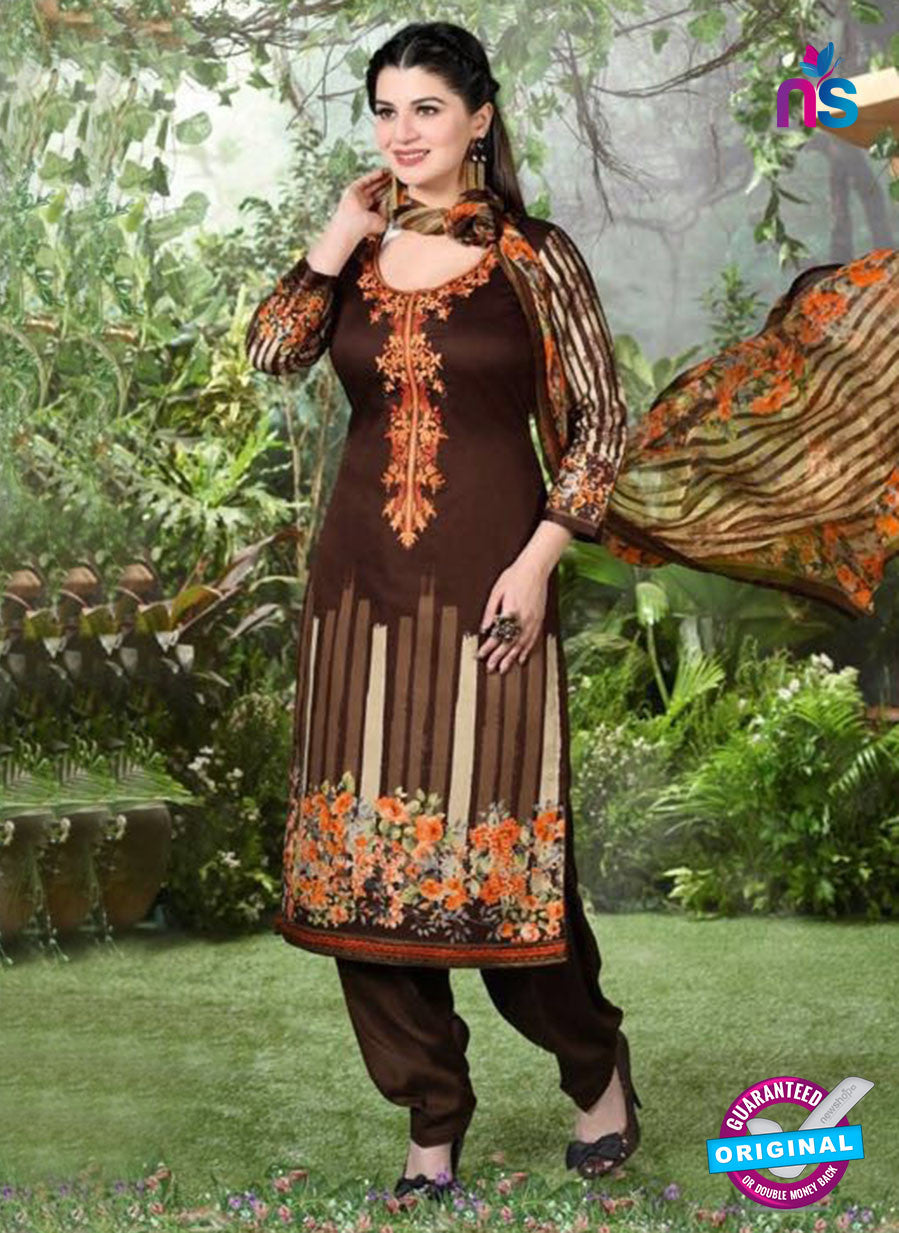 Rakhi 5496 A Brown Printed Chaam Silk Cotton Patiala Suit