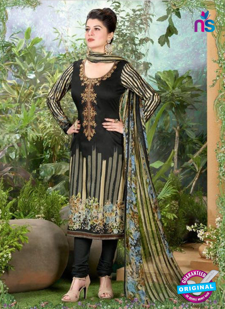 Rakhi 5496 B Black Printed Chaam Silk Cotton Patiala Suit