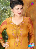 Rakhi 5497 B Yellow Printed Chaam Silk Cotton Patiala Suit