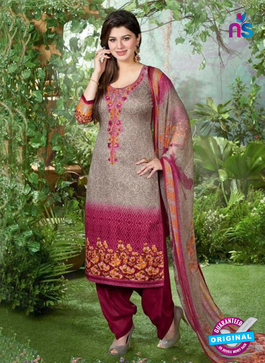 Rakhi 5498 A Grey and Pink Printed Chaam Silk Cotton Patiala Suit