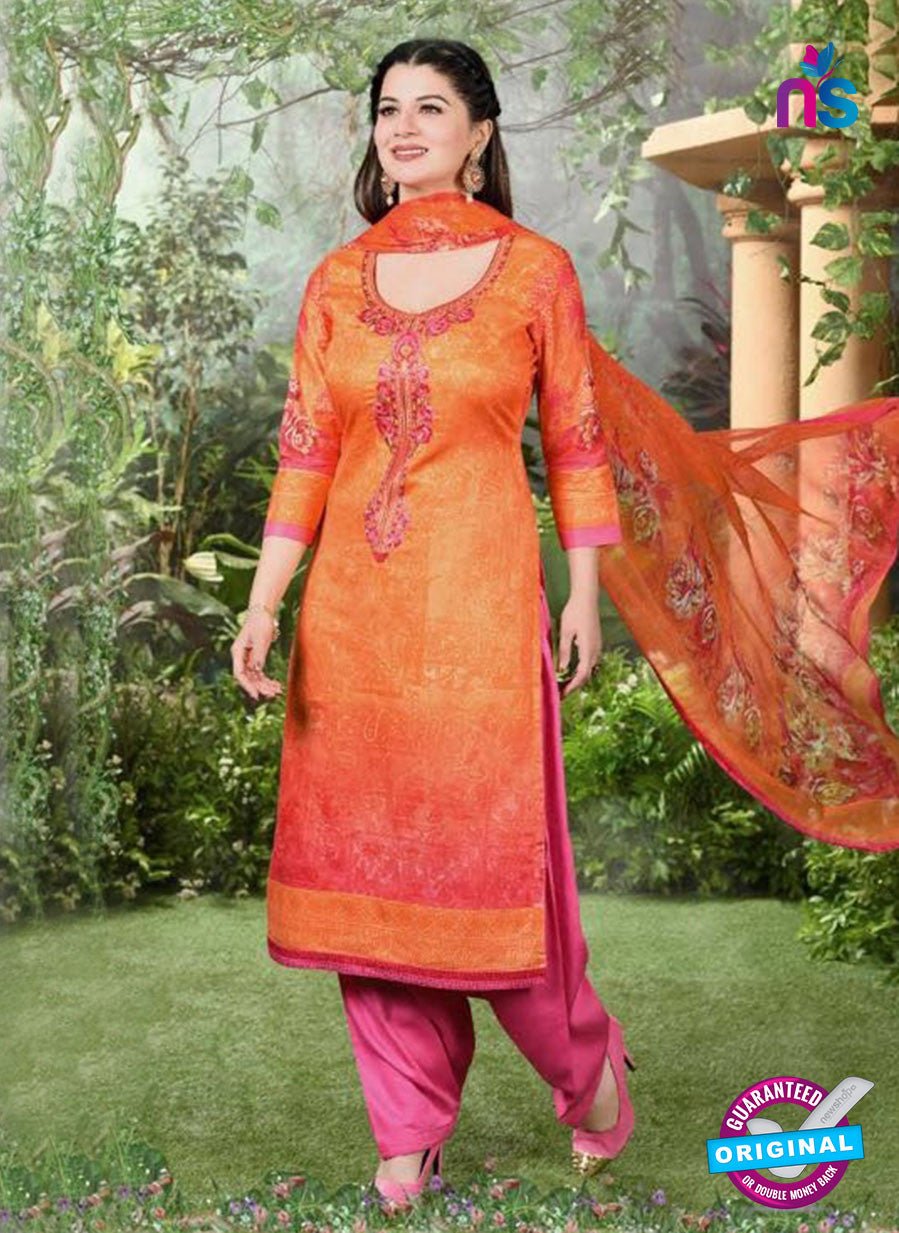 Rakhi 5499 A Orange and Pink Printed Chaam Silk Cotton Patiala Suit