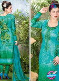 Rakhi 5499 B Sky Blue and Green Printed Chaam Silk Cotton Patiala Suit