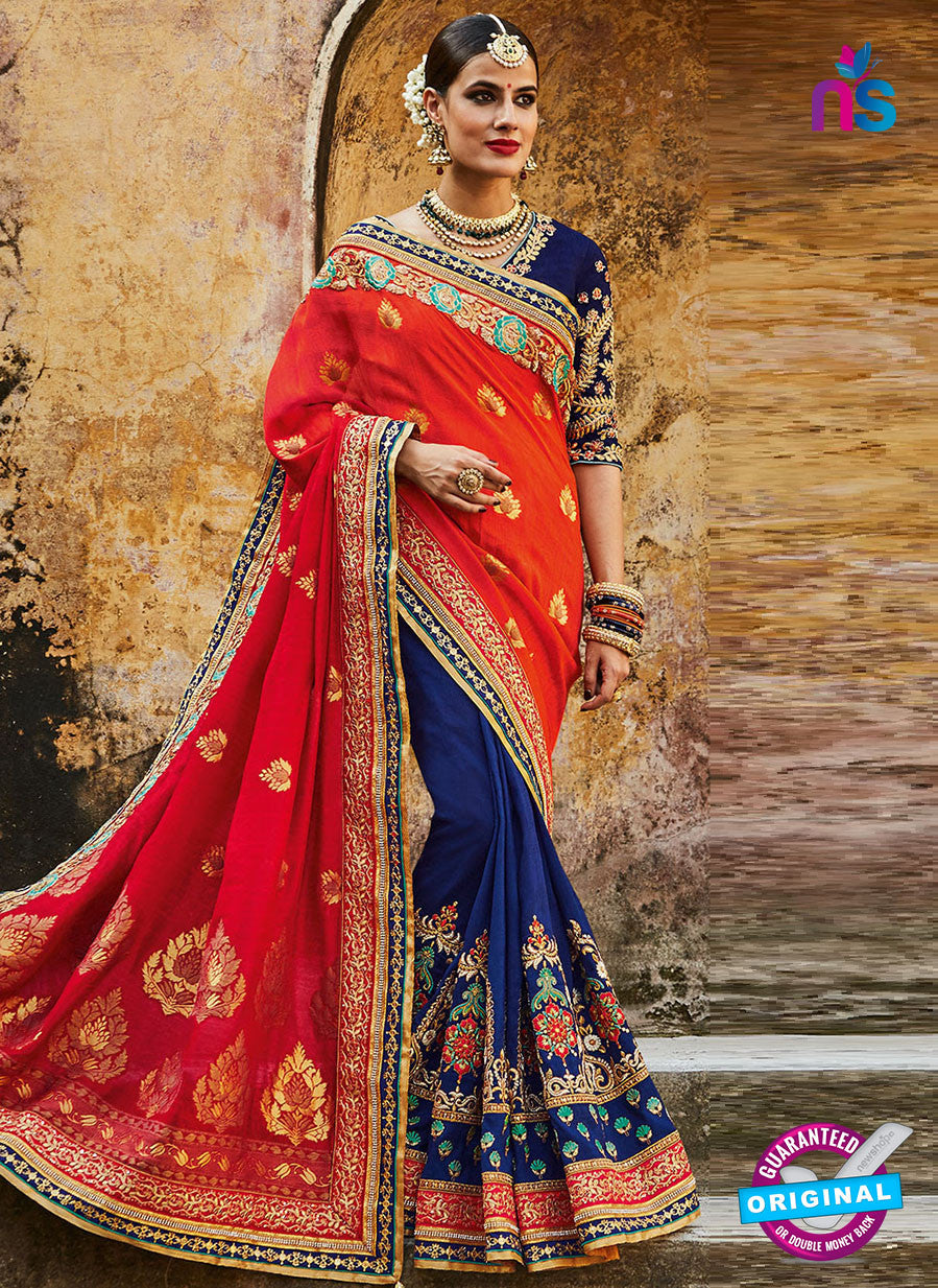 Kimora SA54 Blue Wedding Saree