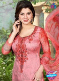 Rakhi 5500 A Pink and Peach Printed Chaam Silk Cotton Patiala Suit