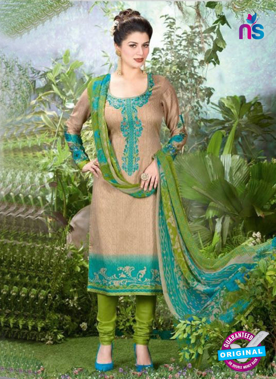 Rakhi 5501 B Beige and Green Printed Chaam Silk Cotton Patiala Suit