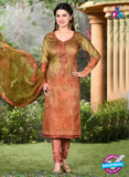 Rakhi 5502 A Mehndi Green and Brown Printed Chaam Silk Cotton Patiala Suit