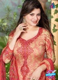 Rakhi 5503 A Beige and Red Printed Chaam Silk Cotton Patiala Suit