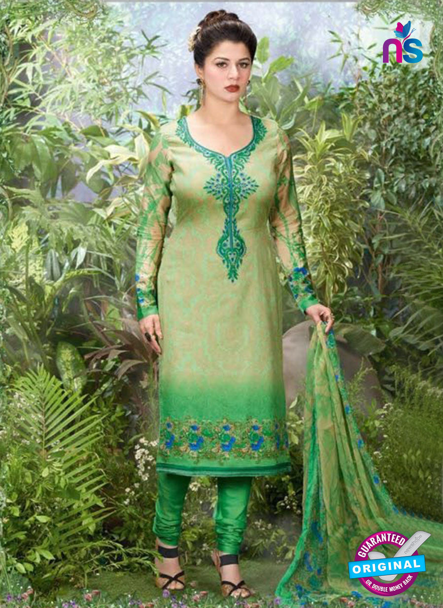 Rakhi 5503 B Green Printed Chaam Silk Cotton Patiala Suit