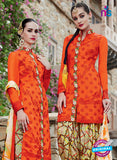 NS10719 Orange Color Cotton Satin Designer Suit