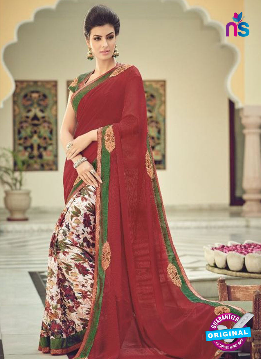 AZ 2076 Maroon and Multicolor Net Chiffon Georgette Fancy Formal Saree