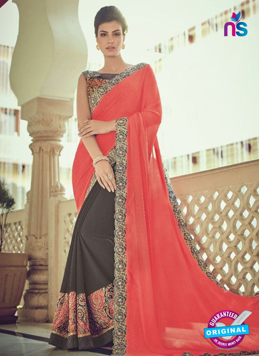 AZ 2078 Dark Grey and Peach Net Chiffon Georgette Fancy Formal Saree