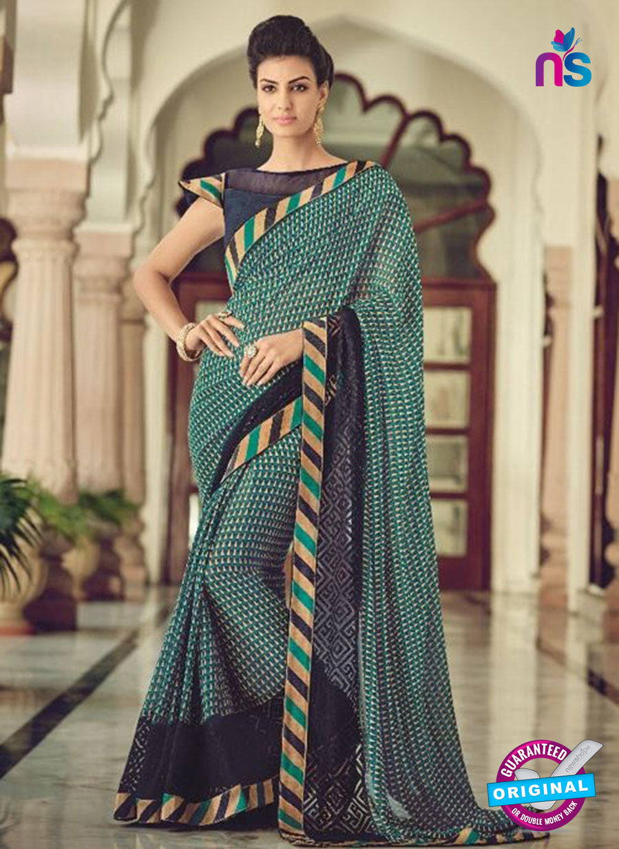 AZ 2083 Sea Green Net Chiffon Georgette Fancy Formal Saree