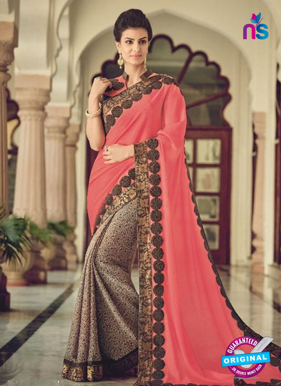 AZ 2085 Brown and Peach Net Chiffon Georgette Fancy Formal Saree