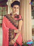 AZ 2085 Brown and Peach Net Chiffon Georgette Fancy Formal Saree - Sarees - NEW SHOP