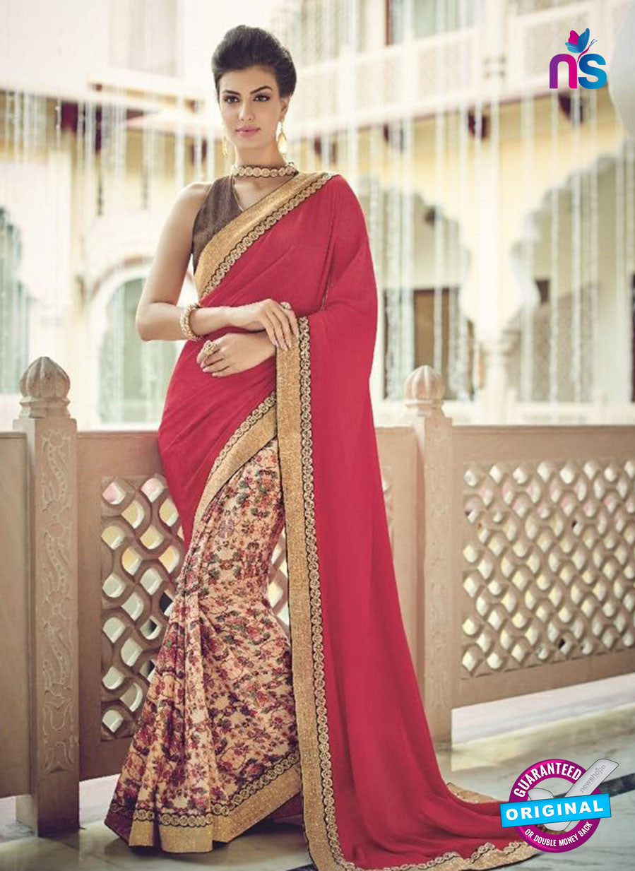 AZ 2086 Pink and Multicolor Net Chiffon Georgette Fancy Formal Saree