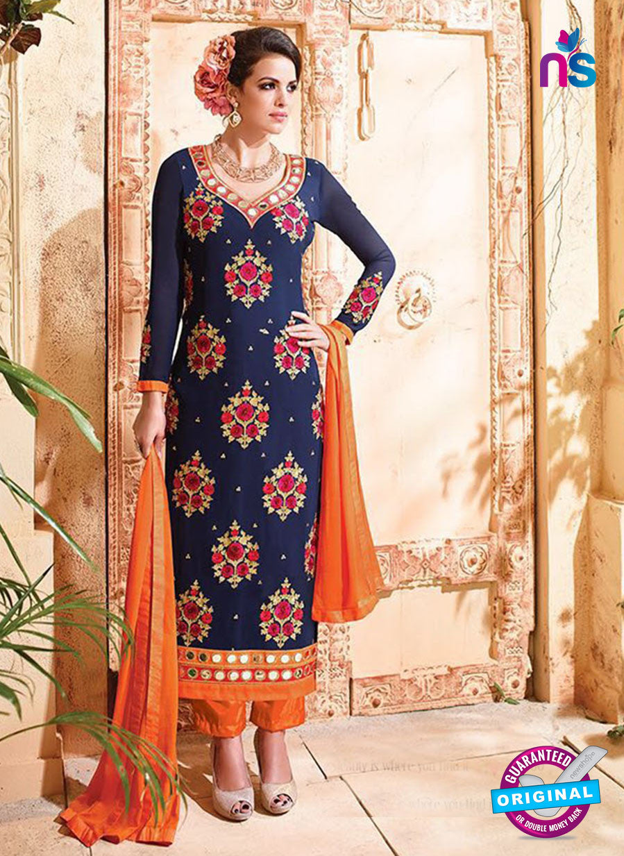 SC 12533 Blue and Orange Embroidered Faux Georgette Party Wear Straight Suit