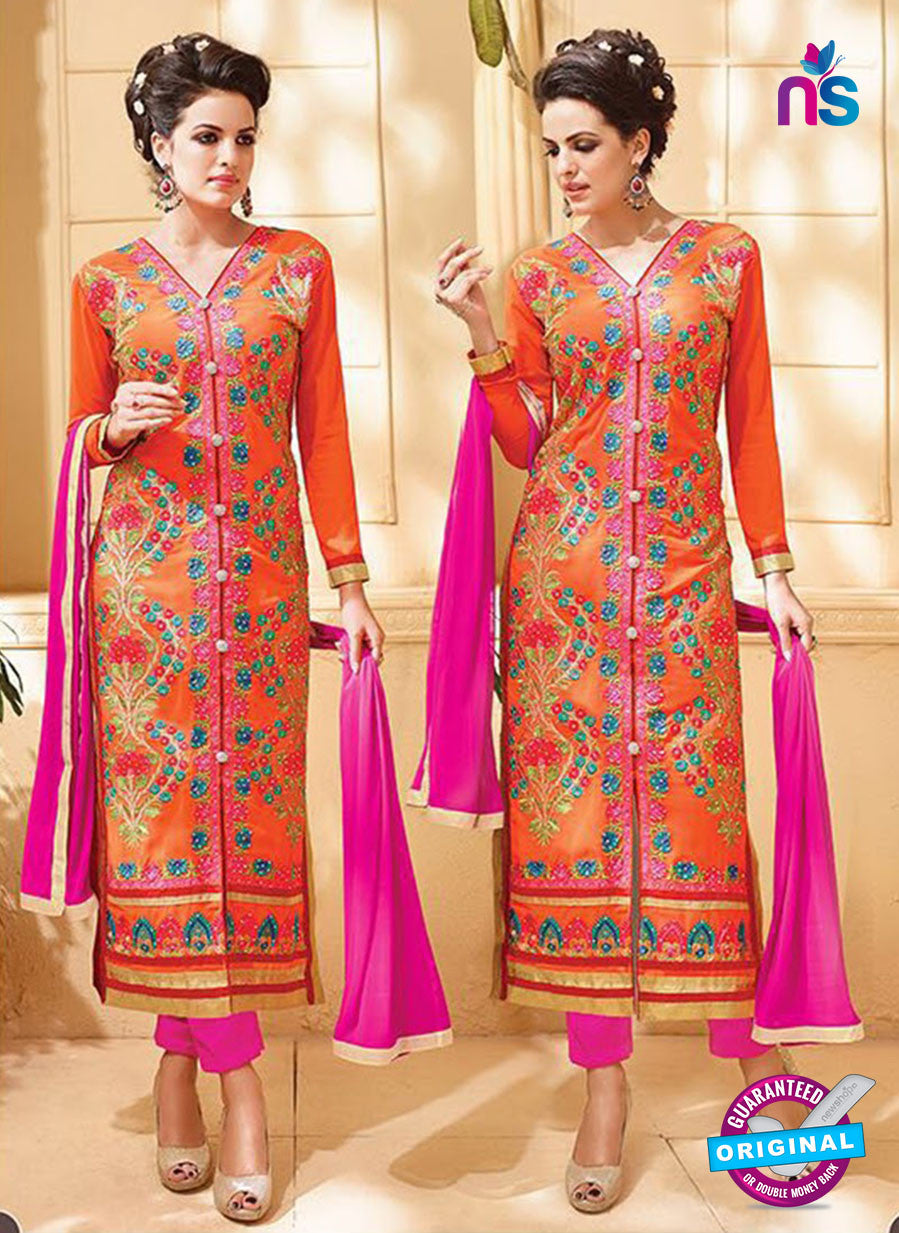SC 12534 Orange and Pink Embroidered Faux Georgette Party Wear Straight Suit