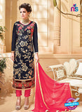 SC 12531 Black and Red Embroidered Faux Georgette Party Wear Straight Suit