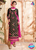 SC 12532 Black and Pink Embroidered Faux Georgette Party Wear Straight Suit