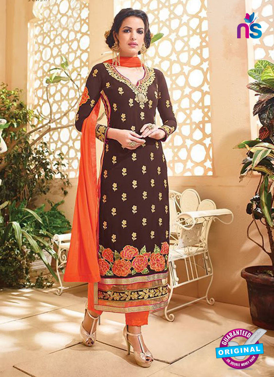 SC 12530 Brown and Orange Embroidered Faux Georgette Party Wear Straight Suit