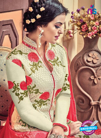 Kesari 5611 Beige Embroidered Georgette Party Wear Fancy Straight Suit Online